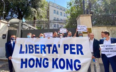 Libertà per Honk Kong: presidio Lega all'Ambasciata della Cina