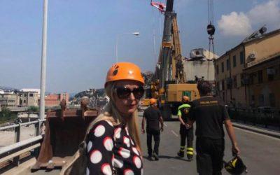 Sopralluogo nella zona del crollo del Ponte Morandi