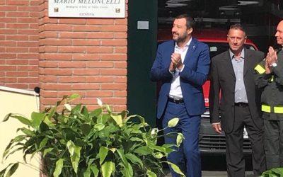 """Con il Ministro Matteo Salvini al distaccamento """"Mario Maloncelli"""" dei Vigili del Fuoco di Genova"""