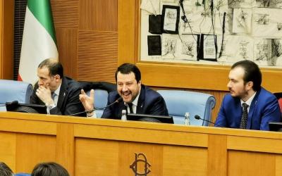 Riunione gruppi Lega con Matteo Salvini