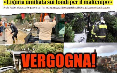 Governo umilia la Liguria flagellata dal maltempo